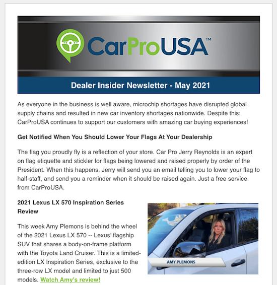 carpro dealer insider newsletter sample