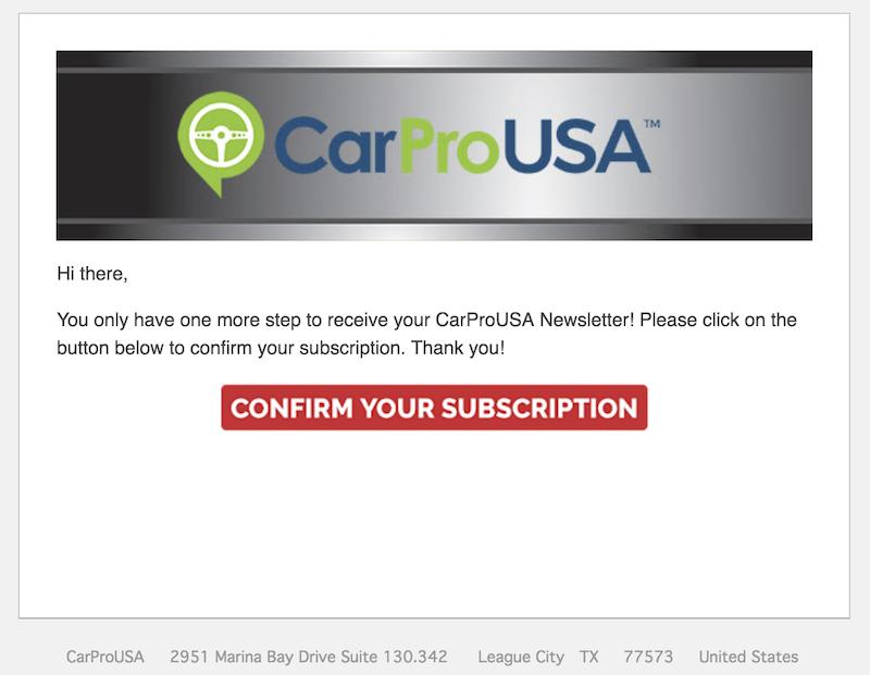 carprousa newsletter confirmation
