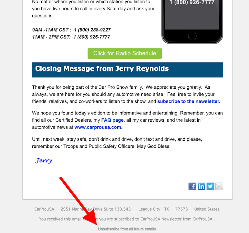 unsubscribe from carprousa national newsletter