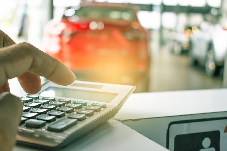 Calculator at car dealership